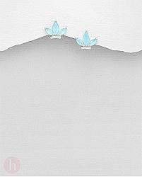 Cercei argint frunze pietre bleu