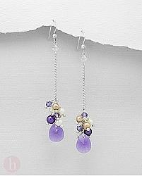 Cercei lungi cu lantisor, cristale ametist si perle