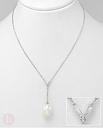 Colier argint cu perla alba