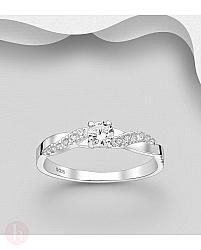Inel logodna cu pietre albe de Zirconia