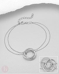 Bratara dubla din argint rodiat cu trei cercuri si cristale albe