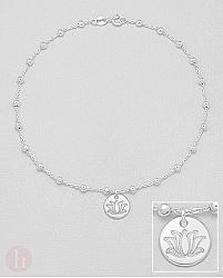 Bratara glezna din argint cu bilute si floare de lotus