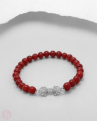 Bratara elastica cu fundita din argint si bilute pietre de coral rosu