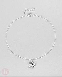 Bratara glezna din argint cu elefant si bilute
