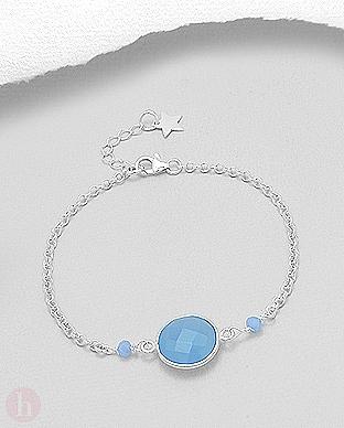 Bratara ajustabila argint stea si pietre albastre calcedonit