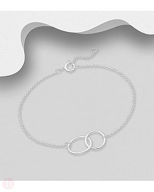Bratara ajustabila din argint cu doua cercuri