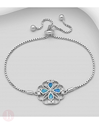 Bratara ajustabila din argint cu floare si pietre albe si albastre