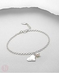 Bratara argint Perla si Inima cu Mesaj