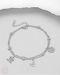 Bratara argint bilute si inimi stilizate