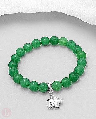 Bratara argint cu bilute jad verde si elefant