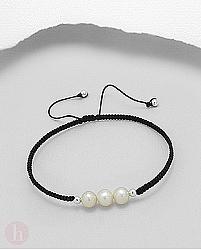Bratara argint cu fir textil si perle albe