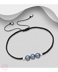 Bratara argint cu fir textil si perle negre