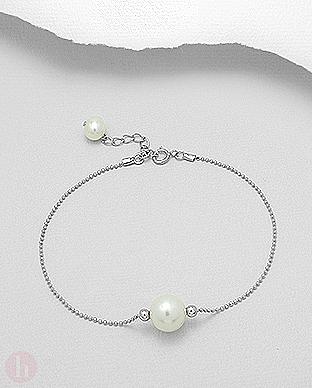 Bratara argint cu perle albe