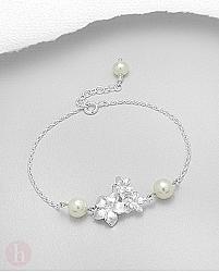Bratara argint model flori cu perle