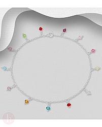 Bratara argint glezna cu cristale multicolore