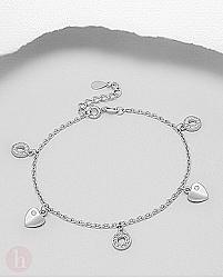 Bratara din argint cu cercuri, inimioare si cristale albe