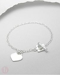 Bratara argint inima si incuietoare toggle