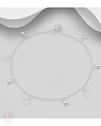 Bratara argint pentru glezna cu bilute si cercuri
