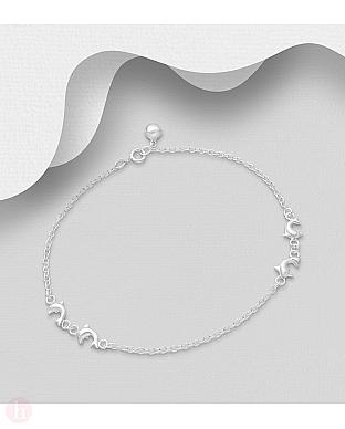 Bratara argint pentru glezna cu patru delfini si biluta