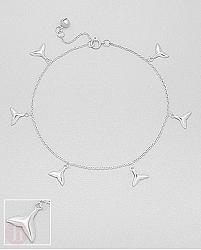 Bratara argint pentru glezna model coada de balena si biluta