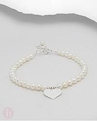 Bratara argint cu perle si inimioara