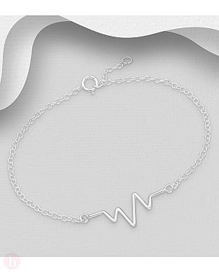 Bratara argint puls inima