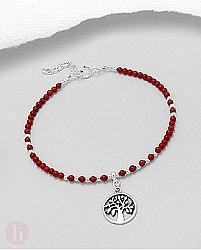 Bratara argint si pietre rosii model Tree of Life