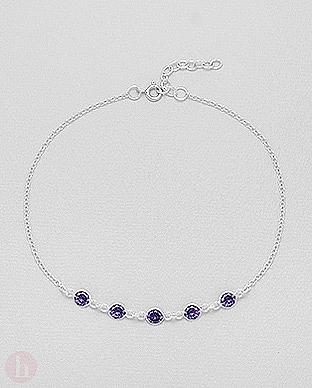 Bratara pentru picior - glezna din argint, model cu cristale violet