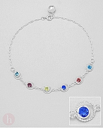 Bratara din argint pentru glezna cu cristale rotunde colorate si biluta