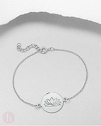 Bratara cu cerc si floare de lotus