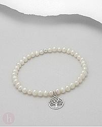 Bratara cu perle albe si pomul vietii