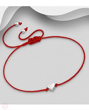 Bratara cu snur textil rosu si inima din argint