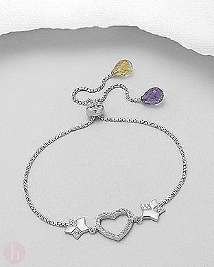Bratara din argint cu inima, stea si pietre albe, violet si galbene