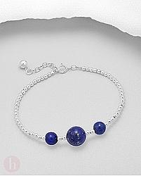 Bratara din argint cu bilute pietre albastre de lapis lazuli