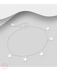 Bratara din argint cu cinci stelute