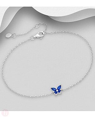 Bratara din argint cu fluture