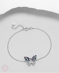 Bratara din argint cu fluture decorat cu cristale colorate