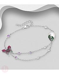 Bratara din argint cu fluture si perla