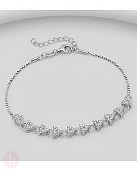 Bratara din argint cu forme geometrice si cristale