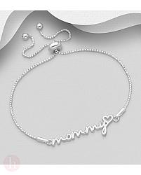 Bratara din argint cu inima, bilute si text MOMMY