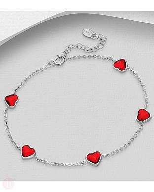 Bratara din argint cu inimioare Swarovski rosii