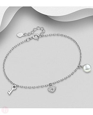 Bratara din argint cu perla si inima