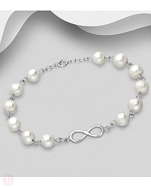 Bratara din argint cu perle albe si infinit