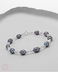 Bratara din argint cu perle negre, bilute si cristale