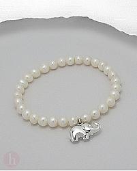 Bratara din argint cu perle si elefant