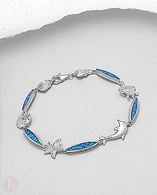 Bratara din argint cu piatra albastra, model marin