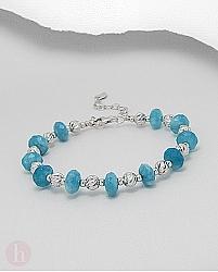 Bratara din argint cu pietre albastre de cuart bleu