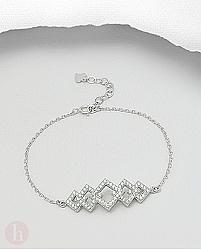 Bratara din argint cu romburi si cristale