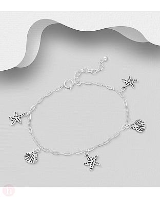 Bratara din argint cu scoici si stelute de mare