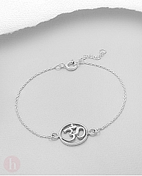 Bratara din argint cu talisman rotund mantra OM